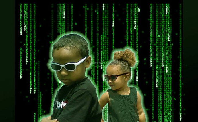 futuristic children placed in a faux matrix background